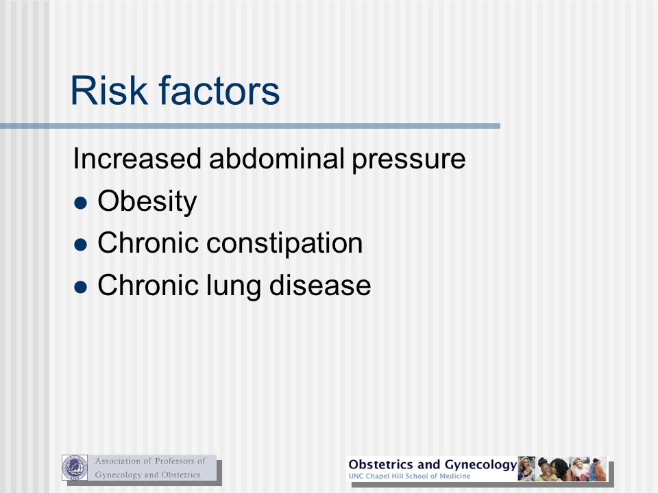 Risk factors Increased abdominal pressure Obesity Chronic constipation