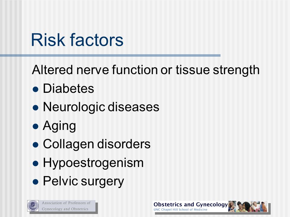 Risk factors Altered nerve function or tissue strength Diabetes