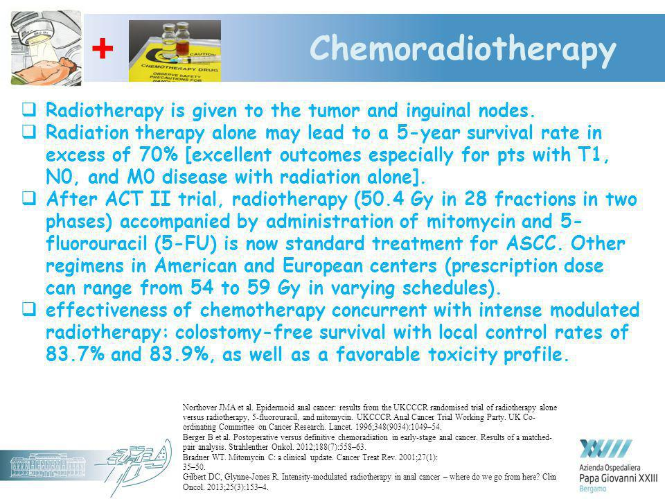+ Chemoradiotherapy. Radiotherapy is given to the tumor and inguinal nodes.