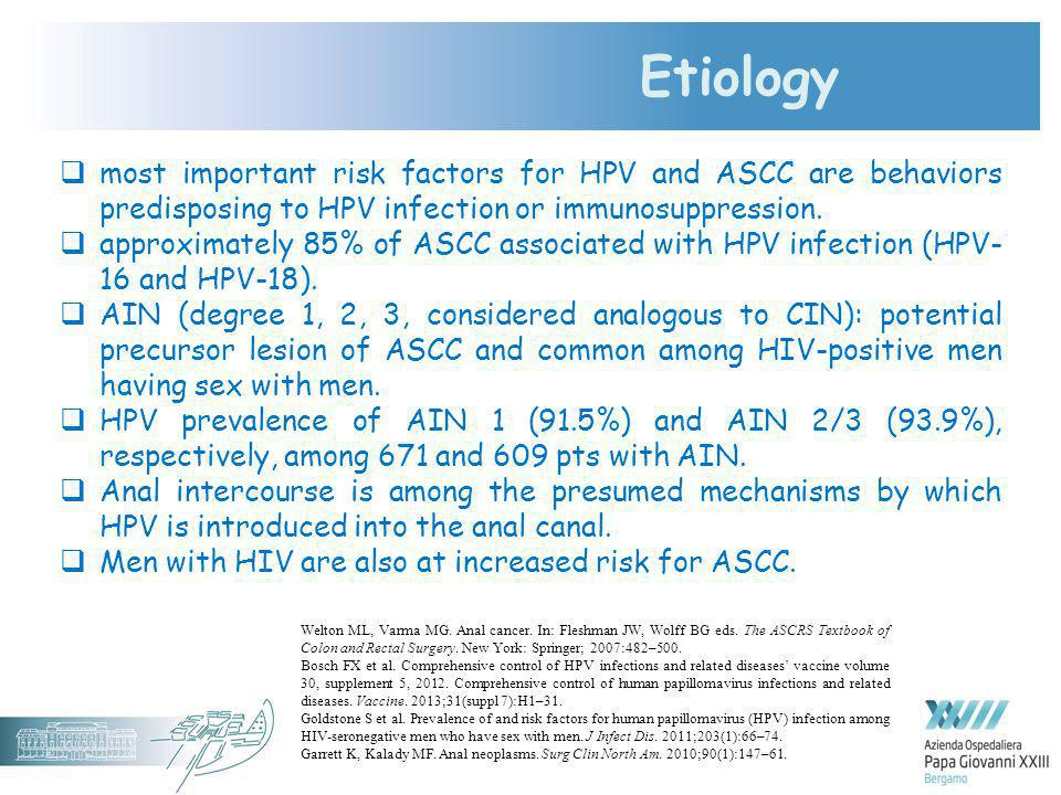 Etiology most important risk factors for HPV and ASCC are behaviors predisposing to HPV infection or immunosuppression.