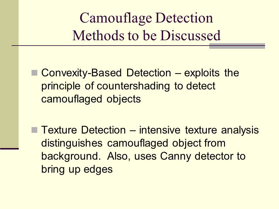 Camouflage Detection Methods to be Discussed