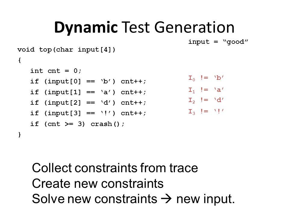 Dynamic Test Generation