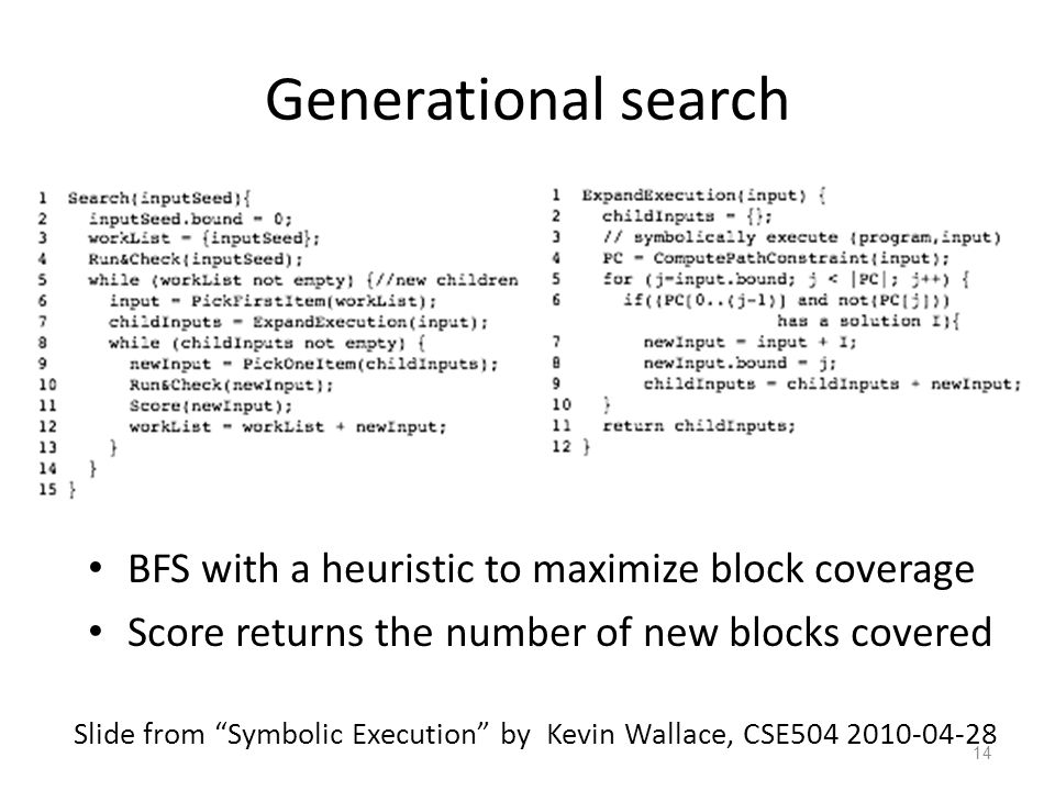 Generational search BFS with a heuristic to maximize block coverage