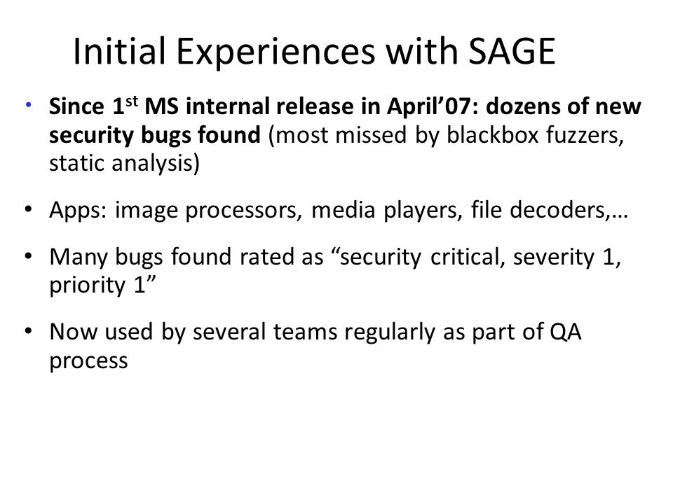 Initial Experiences with SAGE