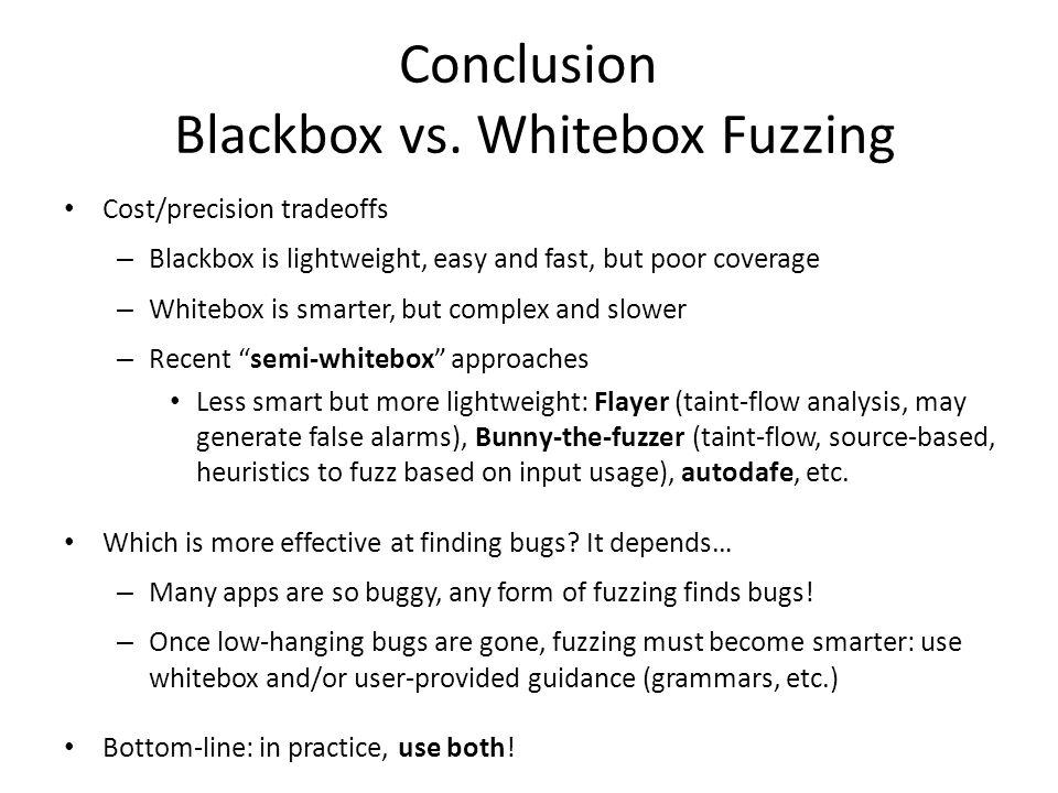 Conclusion Blackbox vs. Whitebox Fuzzing