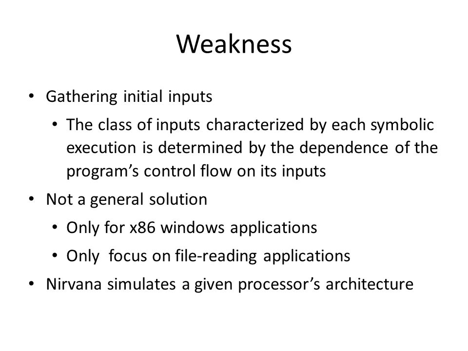 Weakness Gathering initial inputs