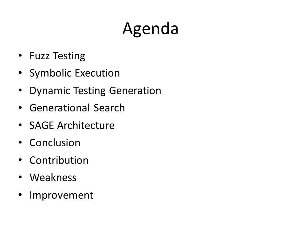 Agenda Fuzz Testing Symbolic Execution Dynamic Testing Generation