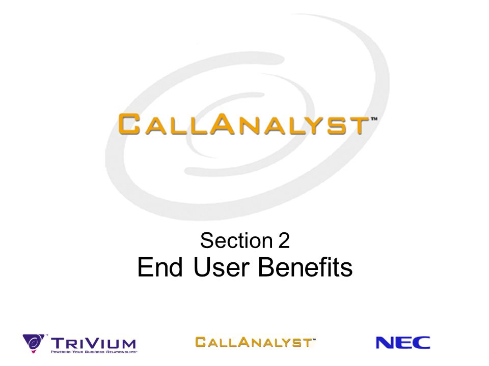 Section 2 End User Benefits