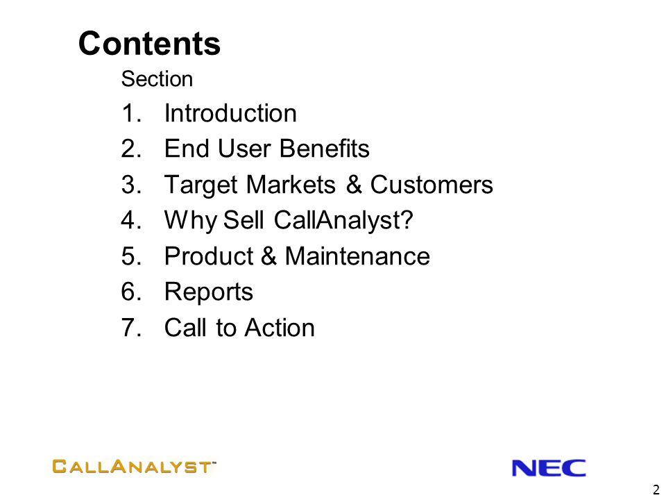Contents Introduction End User Benefits Target Markets & Customers