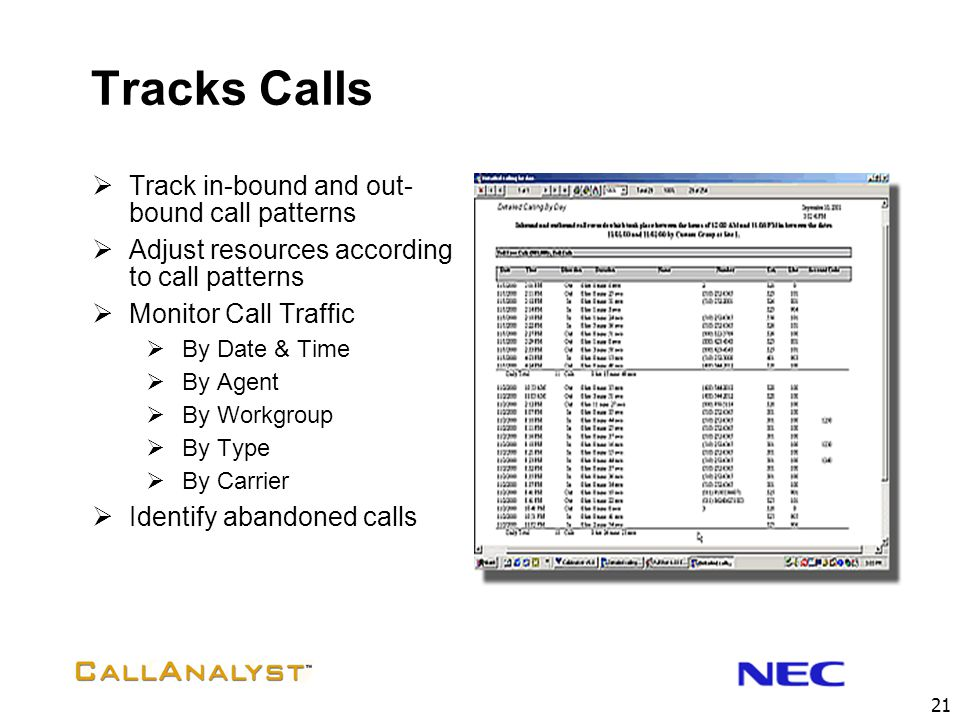 Tracks Calls Track in-bound and out-bound call patterns