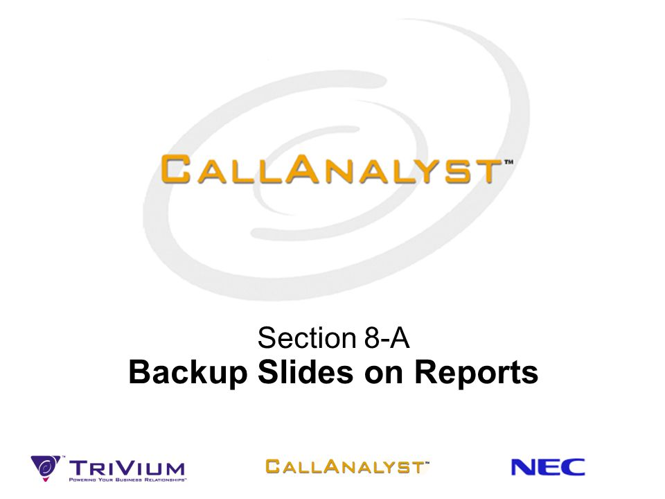 Section 8-A Backup Slides on Reports