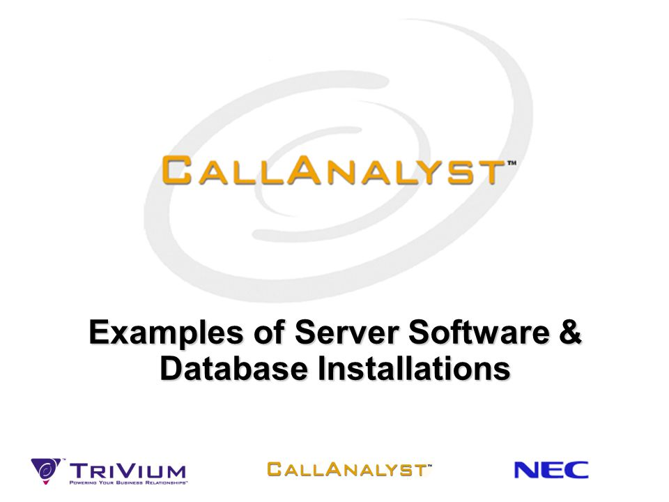 Examples of Server Software & Database Installations
