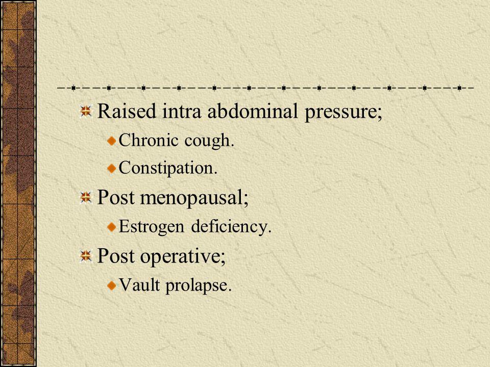 Raised intra abdominal pressure;