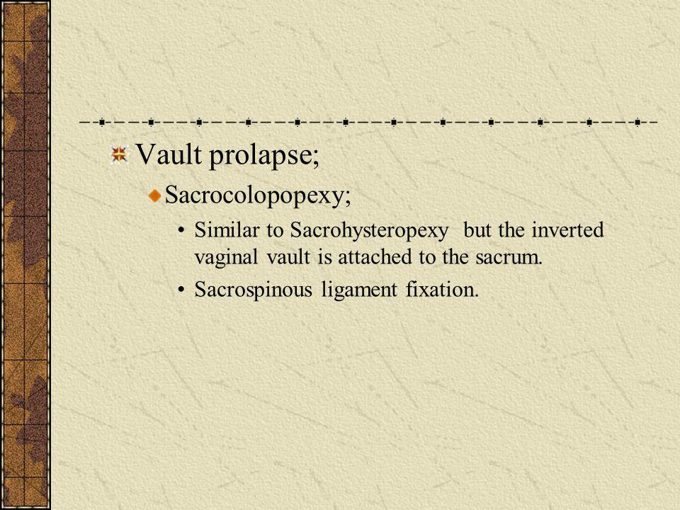 Vault prolapse; Sacrocolopopexy;