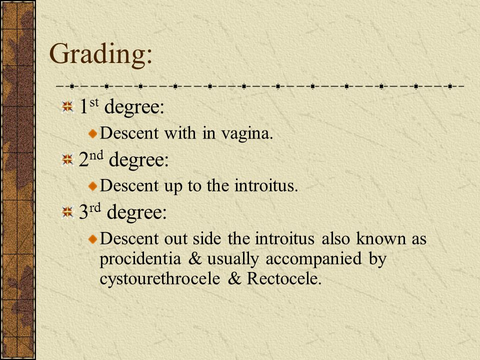 Grading: 1st degree: 2nd degree: 3rd degree: Descent with in vagina.