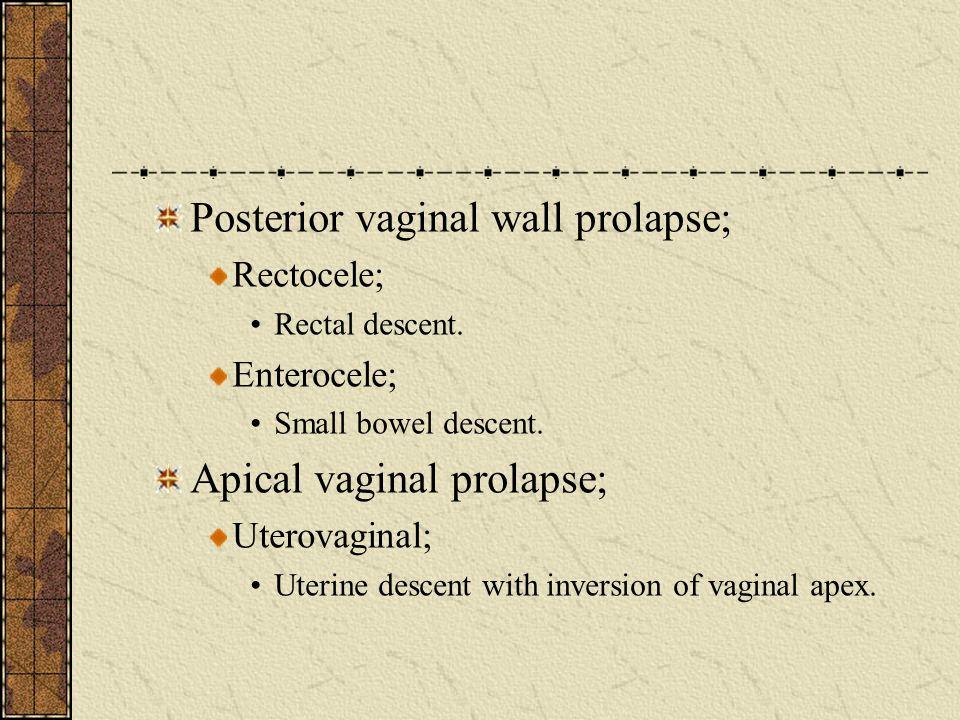Posterior vaginal wall prolapse;