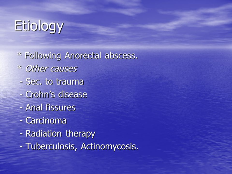 Etiology * Following Anorectal abscess. * Other causes