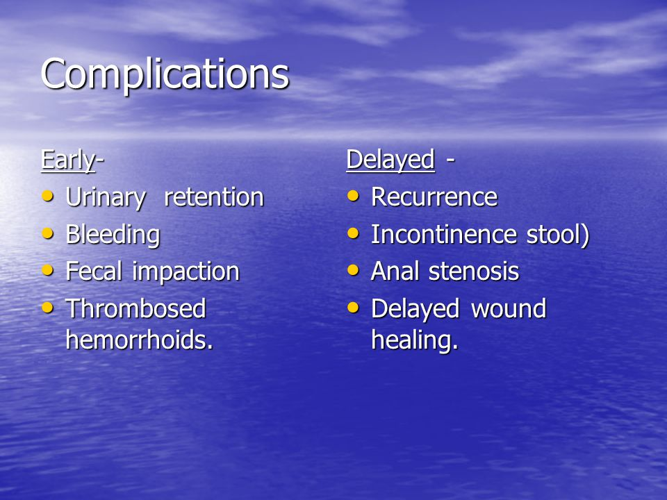 Complications Early- Urinary retention Bleeding Fecal impaction