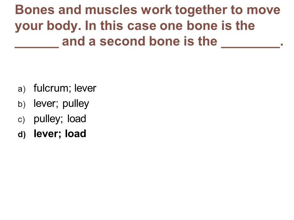 Bones and muscles work together to move your body