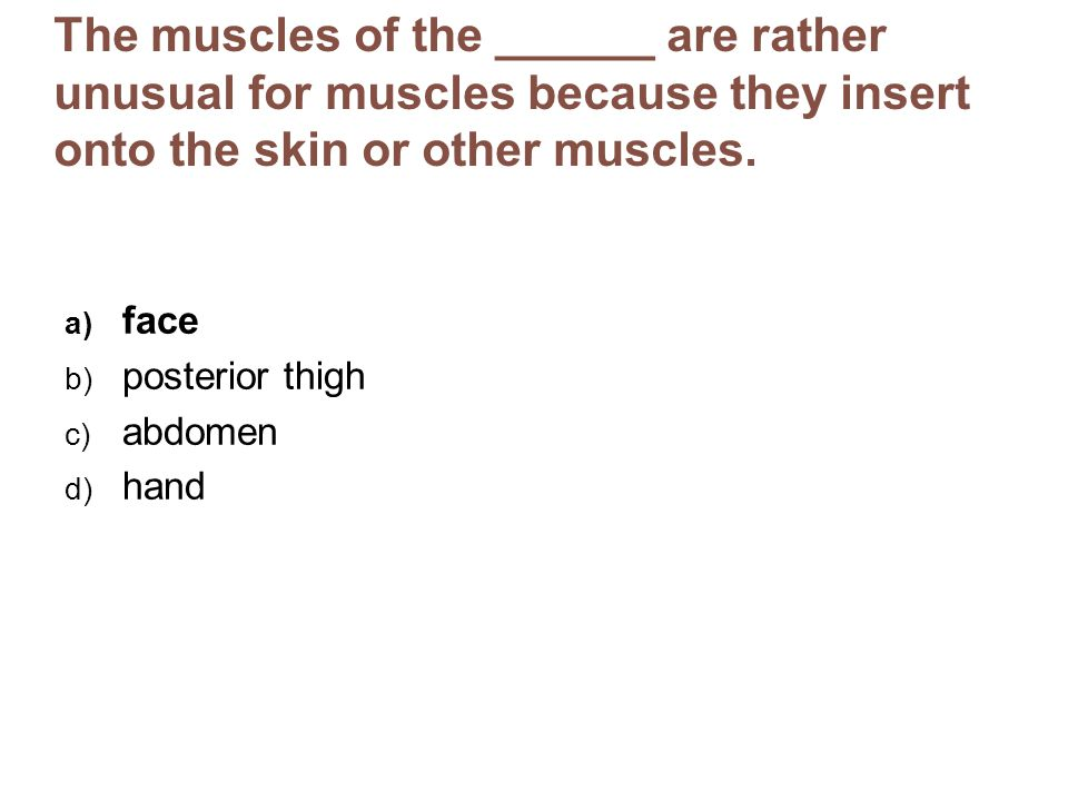 The muscles of the ______ are rather unusual for muscles because they insert onto the skin or other muscles.