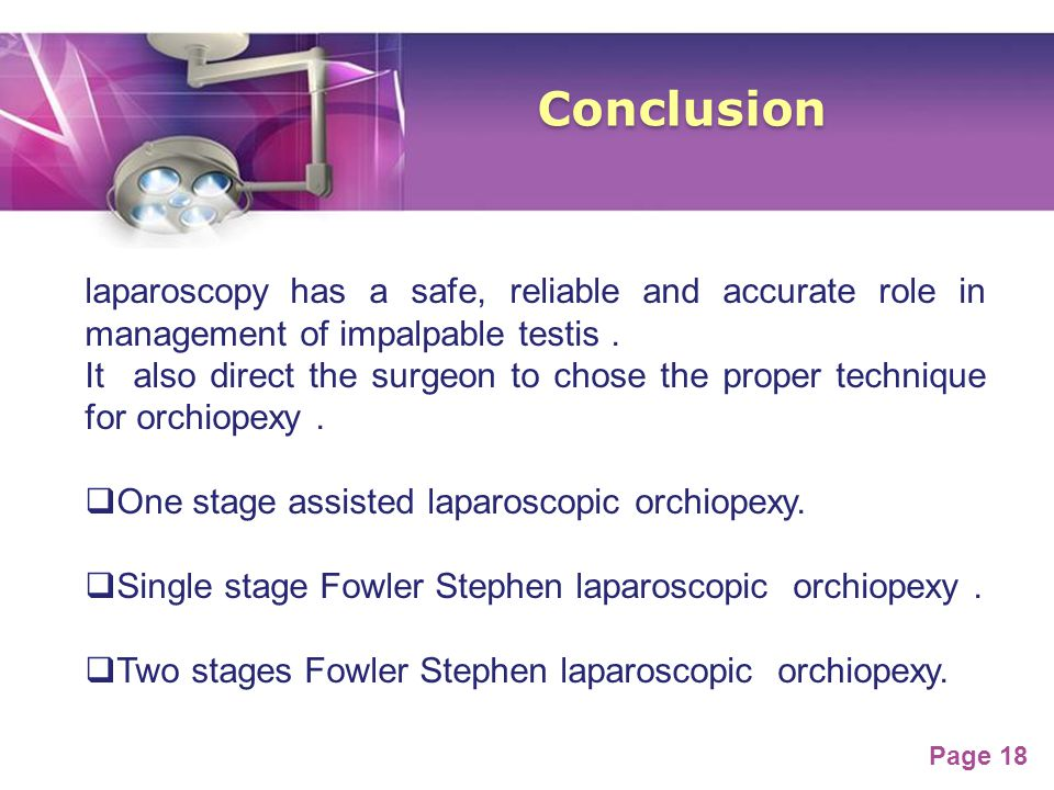 Conclusion laparoscopy has a safe, reliable and accurate role in management of impalpable testis .