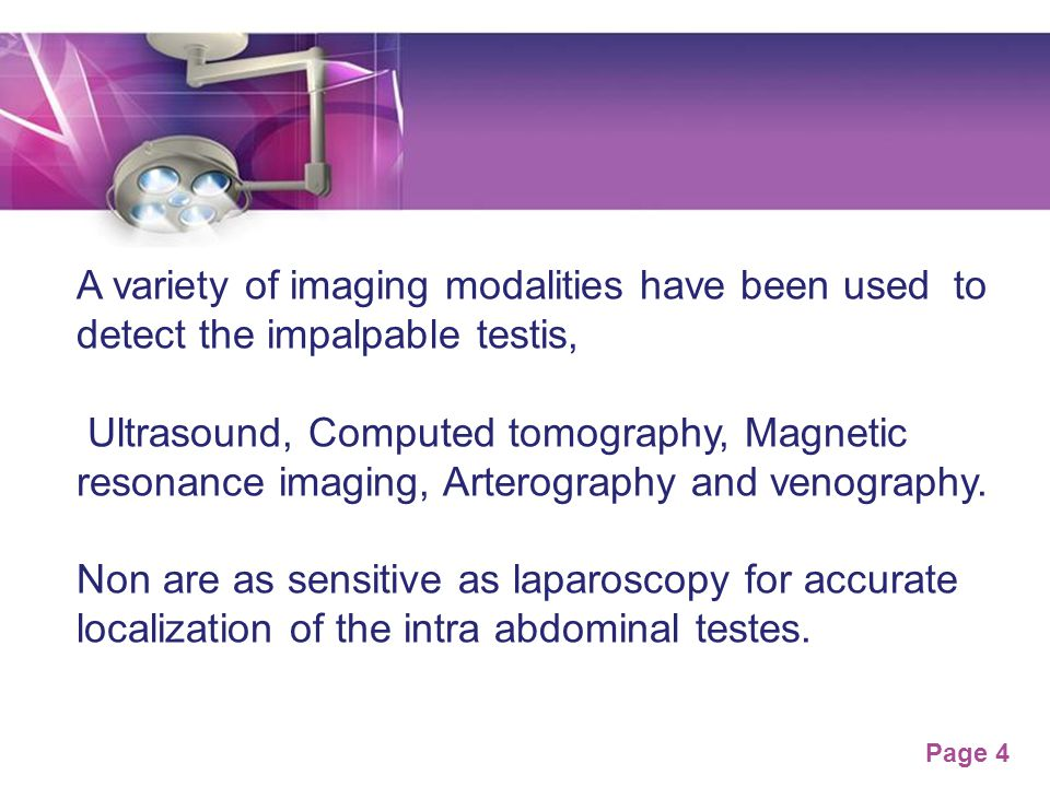 A variety of imaging modalities have been used to detect the impalpable testis,
