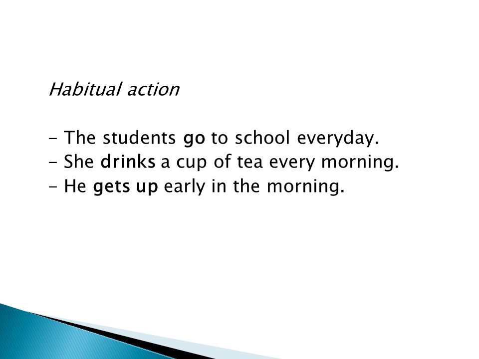 Habitual action - The students go to school everyday