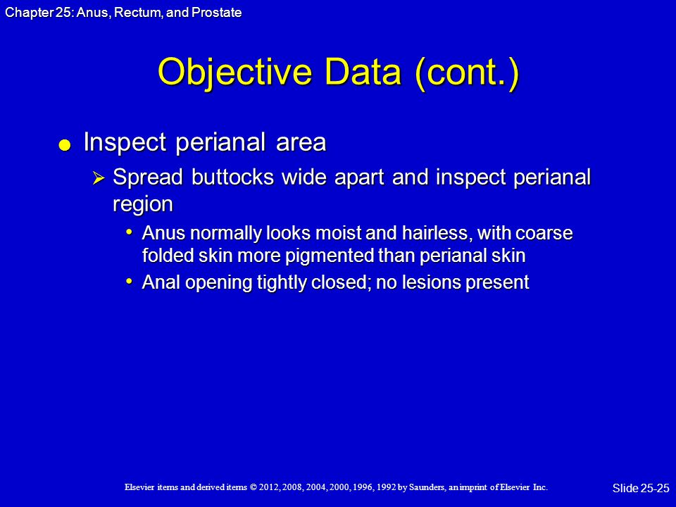 Objective Data (cont.) Inspect perianal area