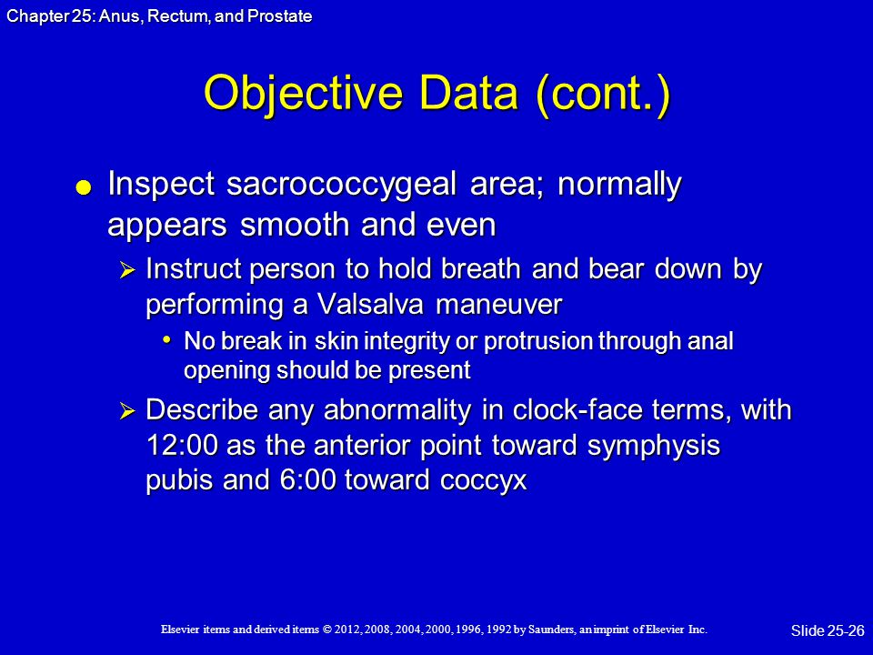 Objective Data (cont.) Inspect sacrococcygeal area; normally appears smooth and even.