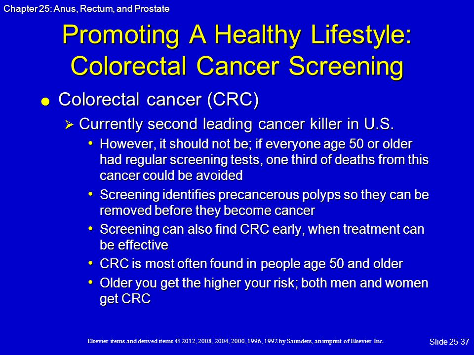 Promoting A Healthy Lifestyle: Colorectal Cancer Screening