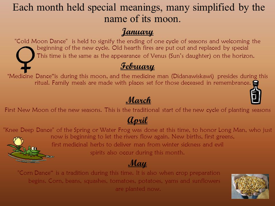 Each month held special meanings, many simplified by the name of its moon.