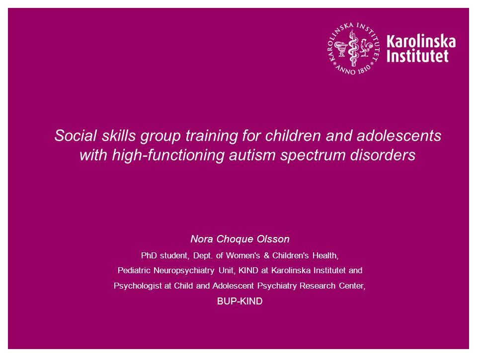Social skills group training for children and adolescents with high-functioning autism spectrum disorders