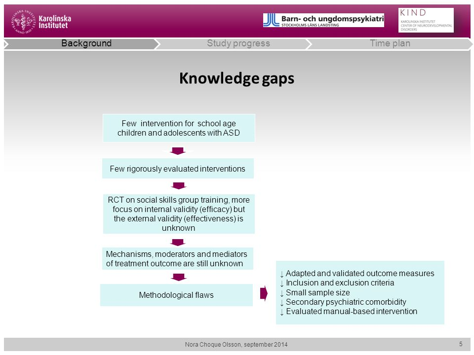 Knowledge gaps Background Study progress Time plan