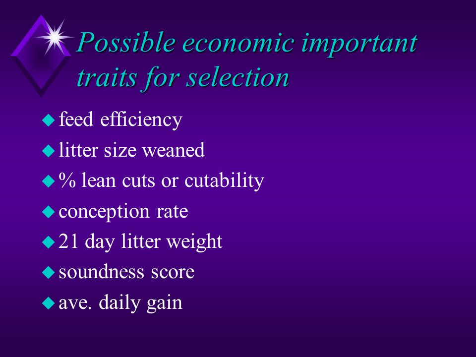 Possible economic important traits for selection