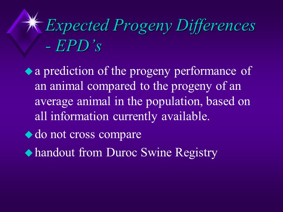 Expected Progeny Differences - EPD's