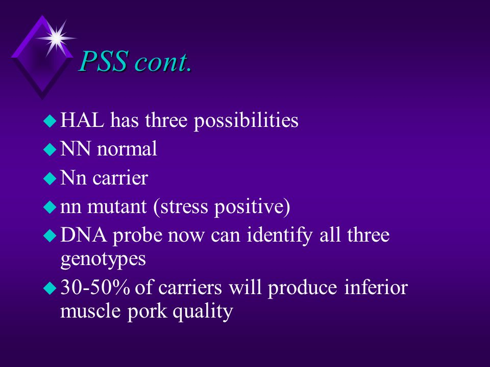 PSS cont. HAL has three possibilities NN normal Nn carrier