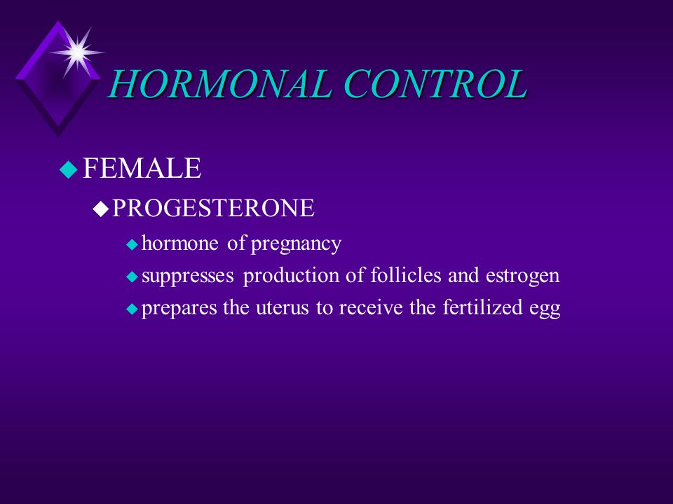 HORMONAL CONTROL FEMALE PROGESTERONE hormone of pregnancy