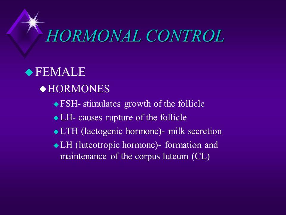 HORMONAL CONTROL FEMALE HORMONES