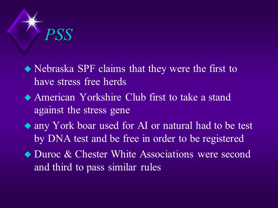 PSS Nebraska SPF claims that they were the first to have stress free herds. American Yorkshire Club first to take a stand against the stress gene.