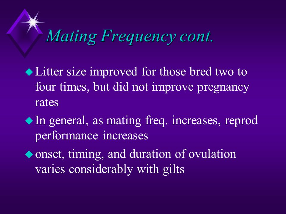 Mating Frequency cont. Litter size improved for those bred two to four times, but did not improve pregnancy rates.