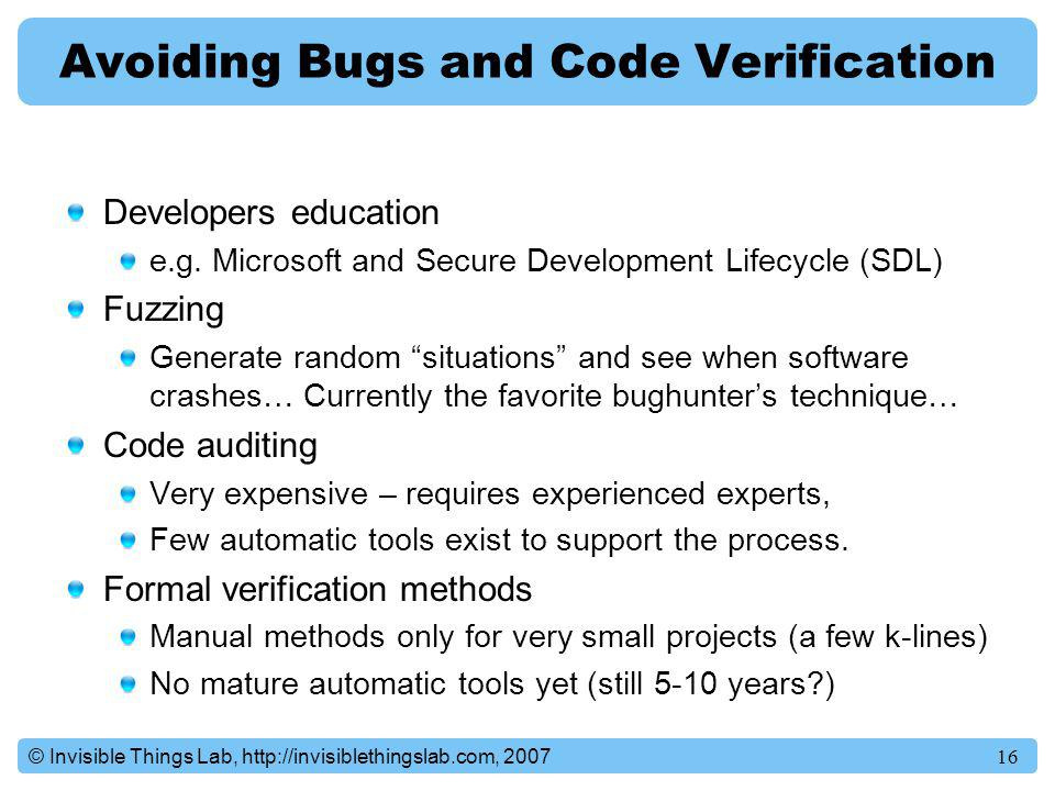 Avoiding Bugs and Code Verification