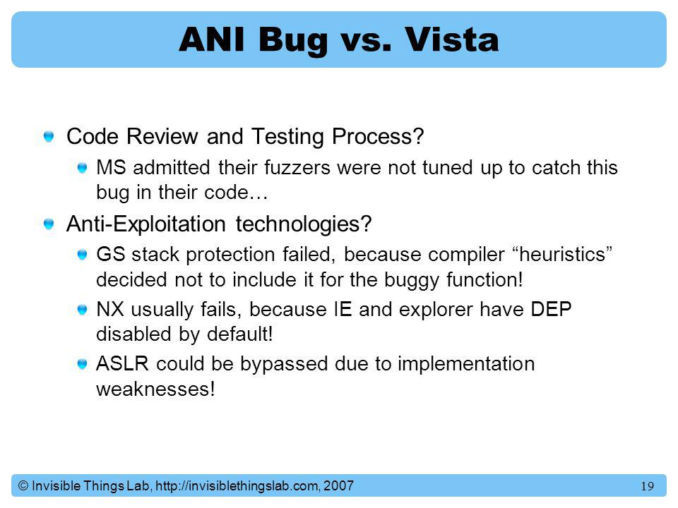 ANI Bug vs. Vista Code Review and Testing Process