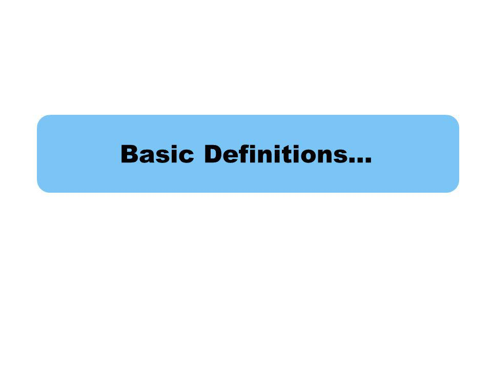 Basic Definitions…
