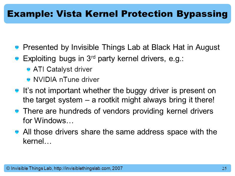 Example: Vista Kernel Protection Bypassing