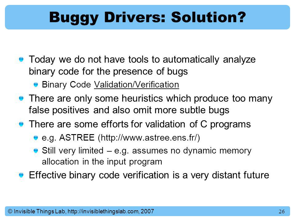 Buggy Drivers: Solution
