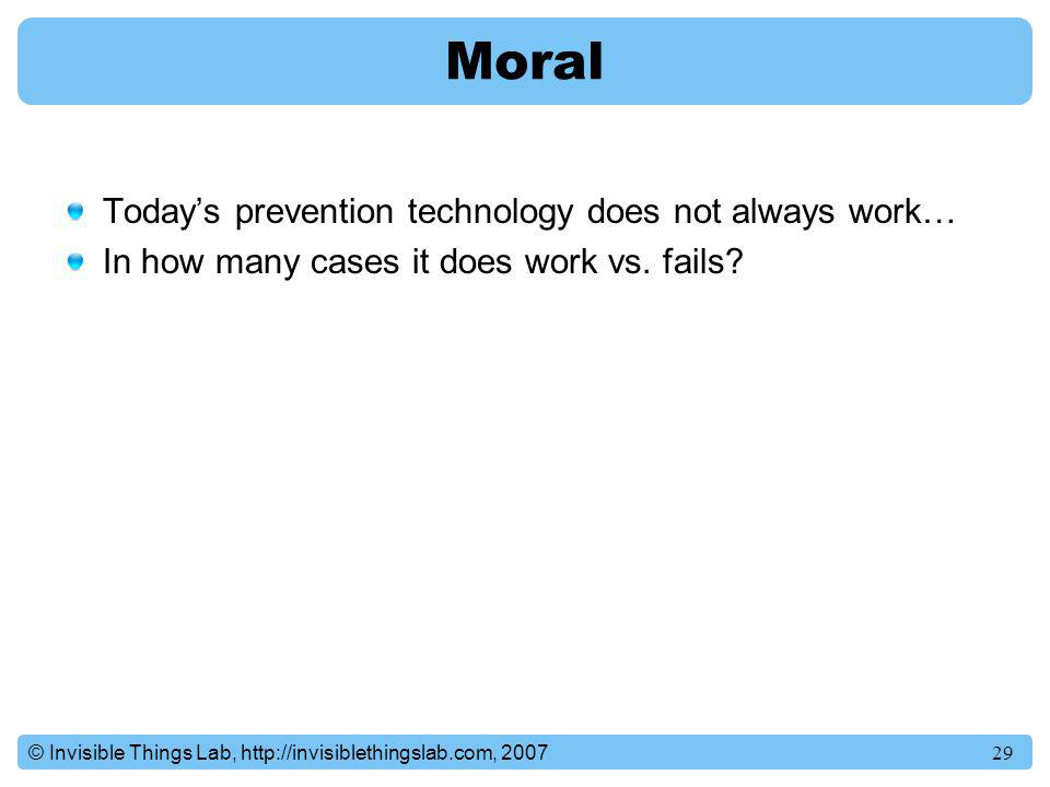 Moral Today's prevention technology does not always work…