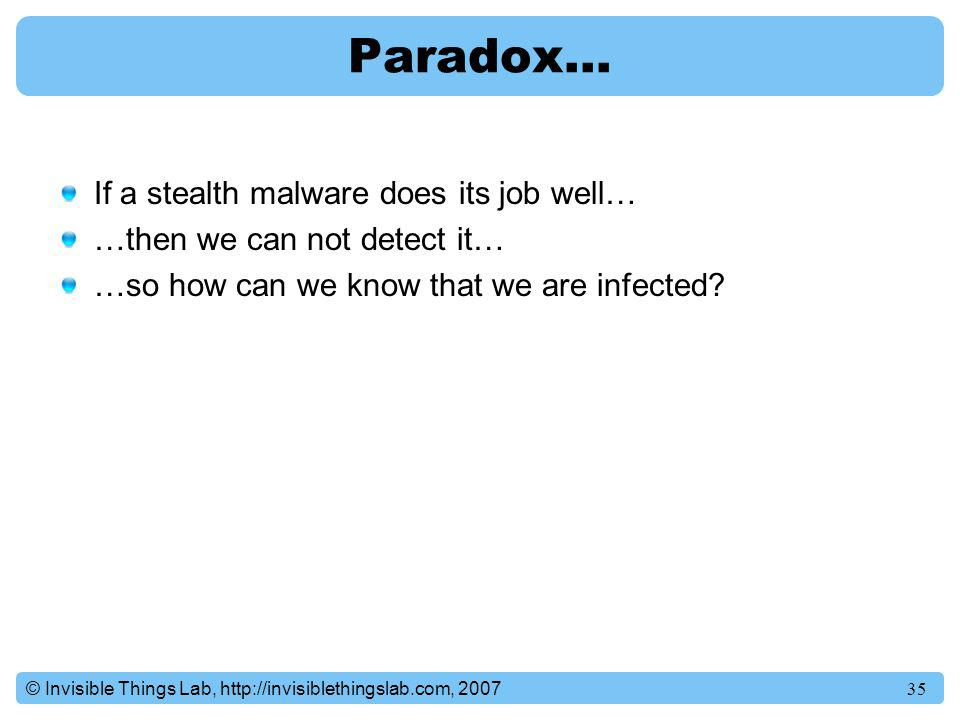 Paradox… If a stealth malware does its job well…