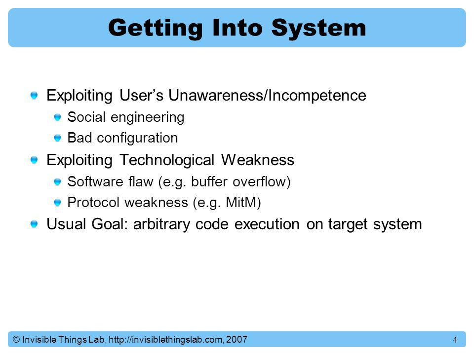Getting Into System Exploiting User's Unawareness/Incompetence