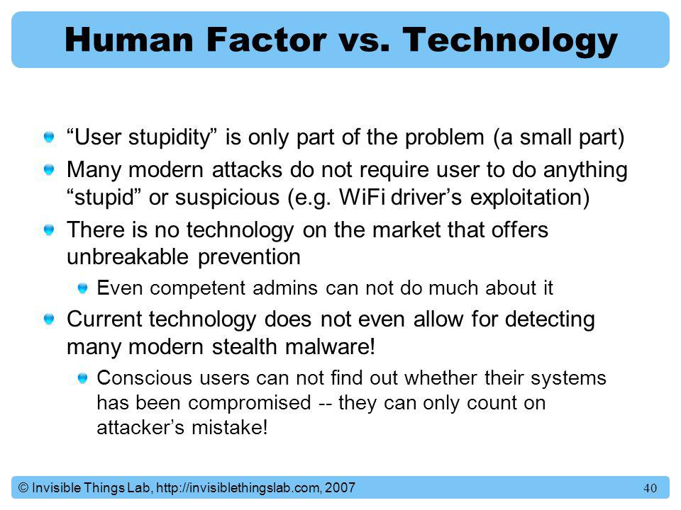 Human Factor vs. Technology