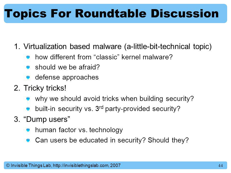 Topics For Roundtable Discussion